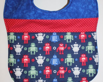 Reversible Blue Robot Toddler Bib