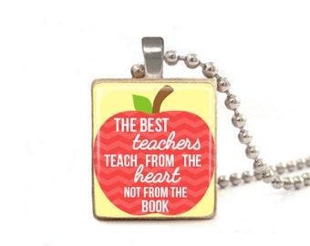 The Best Teachers Teach From the Heart | Teacher Necklace | Gift for Teacher | Teacher Appreciation | Preschool Teacher | Daycare Gift