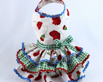 Dog Dress, Dog Harness Dress, Dog Fashion for Small Dog, Summer Dress for Dogs, Ruffle Dress, Handmade, Custom Dog Dress, Poppy, Poppies