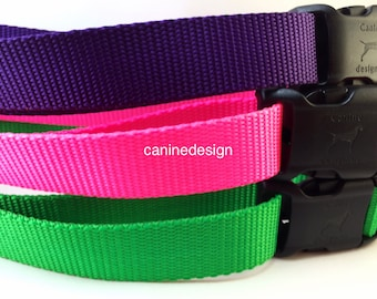 Dog Collar, Choose Your Color, Quick Release Buckle, 1 inch wide, adjustable, nylon