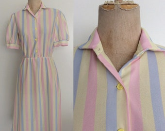 1980's Pastel Striped Shirtwaist Dress Size Small by Maeberry Vintage