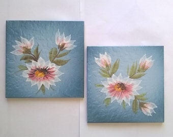 Vintage Blue tiles with flowers/antique tiles/Italian ceramic/Decorative tiles/Wall Cladding House