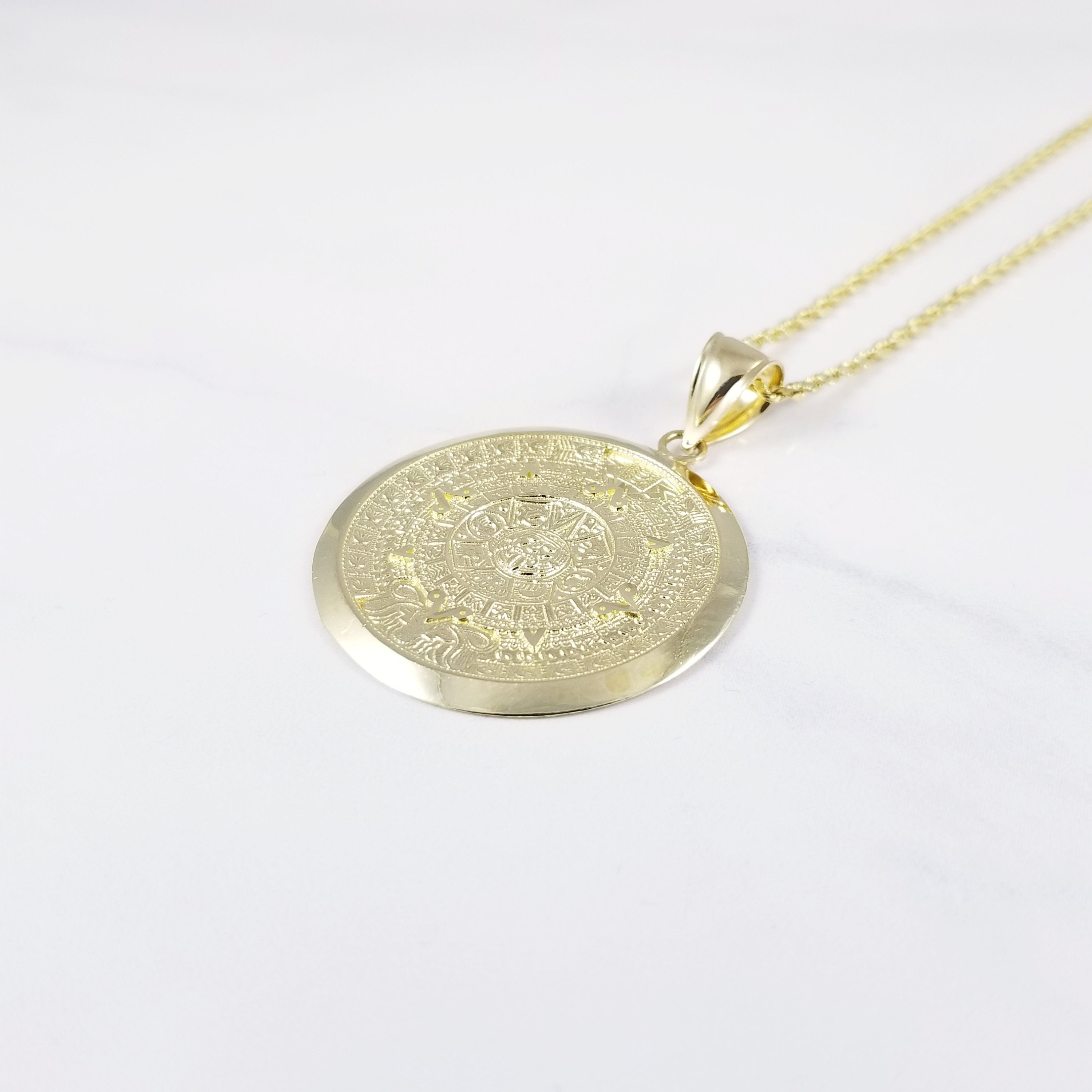 14k solid yellow gold aztec calendar pendant sun medal necklace charm aloadofball Image collections