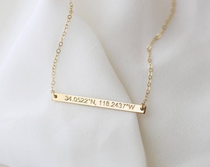 Latitude Longitude Necklace, Personalized Gold Bar Necklace, Location Necklace,  Personalized Gift, Bridesmaid Gift