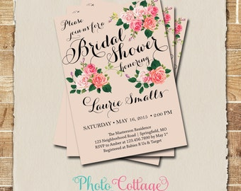 Bridal Shower Invitation, Rustic Bridal Brunch Invitation, Rose Invitations, Bridal Shower Invites, Country Invitation, BS148