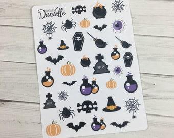 Halloween Planner Sticker Set, October Planner Stickers, Fall Stickers, Halloween Stickers, set of 35
