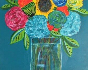 flower art, floral painting, happy art, whimsical art, colorful art, acrylic painting, original canvas, Dee Dee Ebert Art