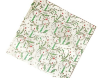 Vintage Wrapping Paper - Candle Flowers Gift Wrap - One Sheet Christmas Seasonal Wrapping
