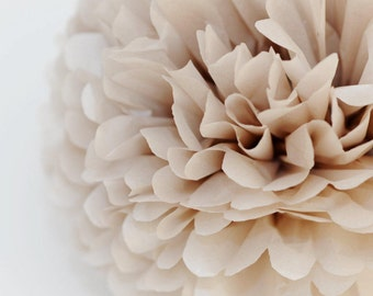 Paper pom pom  Pearl Champagne - shimmery tissue paper pompoms  - wedding party decorations - pastel party decor - paper flower ball - xmas