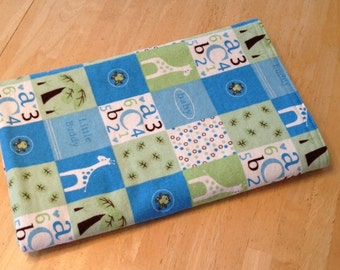 Flannel Fleece Baby Boy Blanket with Giraffes, Tummy Floor Mat with Fleece Backing