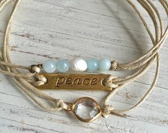 Bohemian wrap bracelet,peace bracelet,festival jewelry,gemstone pearl bracelet. Tiedupmemories