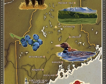 Wells, Maine - Map and Icons (Art Prints available in multiple sizes)