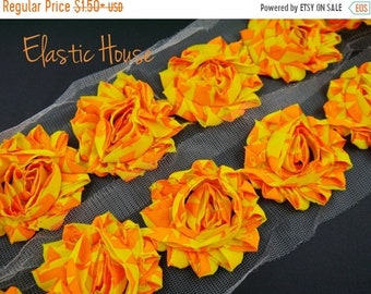 "Clearance 50% OFF Clearance 2.5""  PRINTED Shabby Rose Trim-  NEON Orange Aztec  -Chiffon Trim - Hair Accessories Supplies"