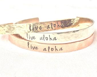 Live Aloha, Live Aloha Bracelet, Aloha,  Hawaiian Jewelry, Graduation Gift, natashaaloha, Beach Bracelets