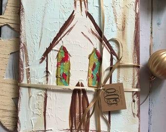 Rustic Church Canvas - Little White Church Original Design - Mixed Media Canvas Acrylic Painting