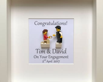 LEGO® Personalised Gay Engagement Gift with Customised Minifigures, Engagement Frame, Gift for the Couple