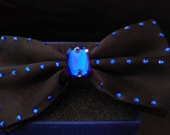 Majestic Blue bow tie, made with Swarovski crystals.