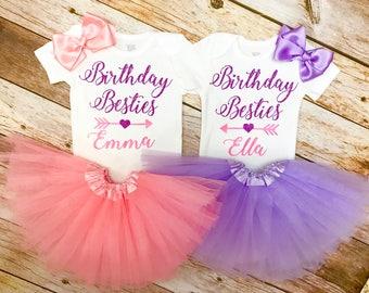 Twins First Birthday, Twins Onesie, Twins Baby Gift, Baby Girl Clothes, Baby Girl Onesie, Baby Twins, Baby Girl Outfit, BAby girl Clothing