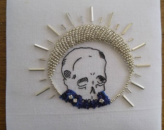 The Wizard Skull - One Of A Kind Hand Embroidered and Embellished Textile Art