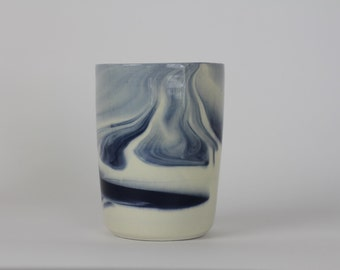 TUMBLER/CUP. Indigo Marbled. Ceramic/pottery Drinkware. Vessels (Made to Order)