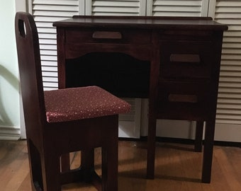 Child's Vintage Wood Desk and Chair