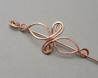 Little Celtic Infinity Loops Copper Shawl Pin, Scarf Pin, Sweater Brooch Closure Celtic Pin Gifts for Knitter, Lace Shawl Pin Accessories
