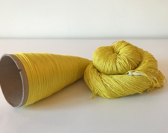 100% Mulberry Silk Lace & Sport Yarn Hand dyed Yellow (Cone or Hank)