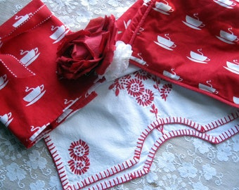 Red and White Three Piece Kitchen Set, Toaster Cover, Tea Towel, Runner, White and Red Kitchen, Rustic Decor, by mailordervintage on etsy