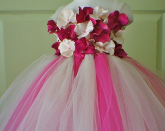 Flower Girl Dress, Tutu Dress, Photo Prop, Magenta and Champagne Flowers, Flower Top, Tutu Dress
