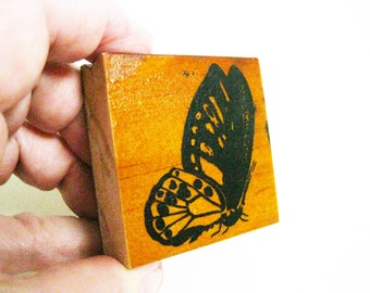 Large Papercraft Butterfly Carved Rubber Stamp Ink Stamp Wood Block Mounted Scrapbooking Card Making Destash Art Craft Supplies Butterfly