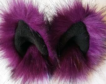 Purple animal ear hair clips with black fleece clip on cat ears, cat ear hair clips