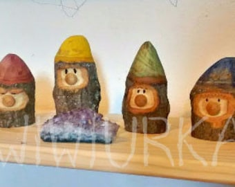 Handcarved wooden gnome / garden gnome / rainbow gnomes / wood gnomes / wiwiurka
