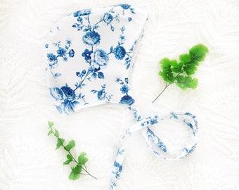 Blue and white flora bonnet, newborn gift, cotton,handmade baby, baby shower gift, newborn photo prop