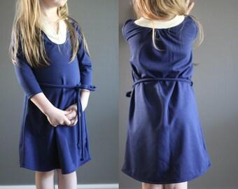 Sample SALE Wonderland dress 5 ready to ship navy ivory knit play dress jumper 5y