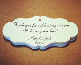 """30 Personalized Favor Tags, 3"""" x 1.5"""", Die cut tags, Wedding tags, Thank You tags, Favor tags, Gift tags"""