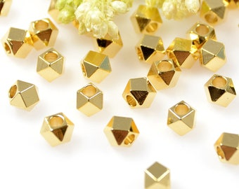 Diamond Cut Beads, 4mm, Gold Beads, Tarnish Resistant Beads, Lead Free, Brass Beads, Large Hole Beads, 2mm