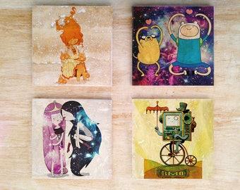 "Adventure Time ""Dream Time"" stone coasters (set of 4) - Flame Princess Finn & Jake Marceline Vampire BMO Princess Bubblegum Cartoon Fun"