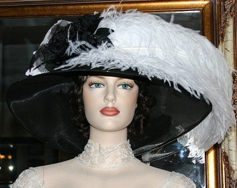 Black & White Kentucky Derby Hat, Ascot Hat Edwardian Hat, Titanic Tea Hat Downton Abbey Hat Women's - Run for the Roses