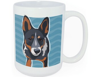 Cattle Dog Blue Heeler Coffee Mug - Time to Walk the Dog Coffee Mug with Australian Cattle Dog