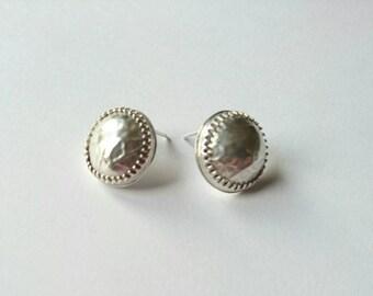 Sterling silver handmade domed disc earrings, hallmarked in Edinburgh