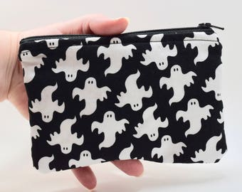 Ghost zipper pouch bag, BOO! HAPPY HALLOWEEN coin purse, credit card wallet