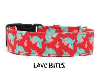 Valentines Day Collar, Boy Dog Collar, Girl Dog Collar, Shark Dog Collar, Beach Dog Collar, Shark (Add Upgrade for Metal Buckle/Martingale)