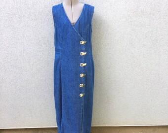 Vintage 90s Blue Denim Maxi Dress, Sleeveless Dress, 90s Women's Clothing, 90s Boho Dress, Buckle Dress, Jean Dress, Size XL