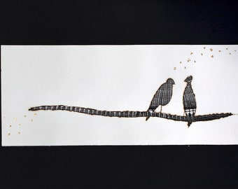 Burnt paper painting, bobbin lace and gold leaf, secrets