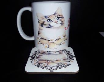 Cat kitty's feline   coffee mug cup with coaster