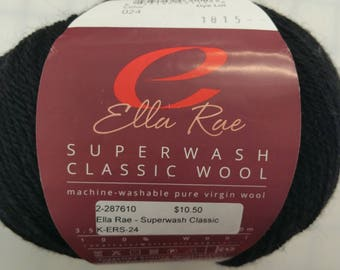 Ella Rae Yarn - Super Wash Classic Wool - Color #24 Black