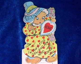 1930's Sewing Valentine Disney Style Cartoon