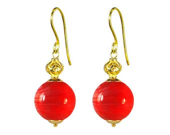 Murano Glass Earrings from Mystery of Venice  'Zanetta' in Red Coral, Murano Glass Earrings, Murano Glass Jewelry, Murano Glass Jewellery