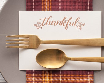 Thanksgiving place cards, I am thankful for, grateful note cards, thanksgiving table setting ideas, letterpress thanksgiving cards