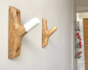 Hand carved oak wall hook - white painted tip